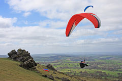 Paragliders over Dartmoor Stock Images