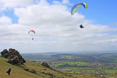 Paragliders over Dartmoor Stock Photos