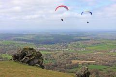 Paragliders over Dartmoor Stock Photo