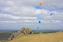 Paragliders over Dartmoor Stock Image