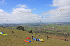 Paragliders over Dartmoor Royalty Free Stock Image