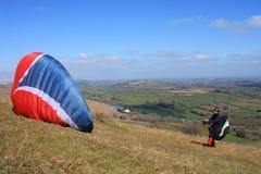 Paragliders over Dartmoor Stock Photography