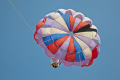 Paragliders overhead blue sky Royalty Free Stock Image