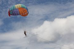 Paragliders people stock image