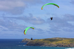 Paragliders at Perranporth Royalty Free Stock Photo