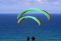 Paragliders at Perranporth Stock Image