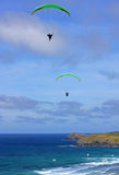 Paragliders at Perranporth Stock Photos