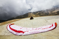 Paragliders are preparing to fly from Mount Tahtali, Turkey Stock Images