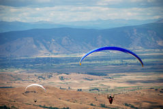 Paragliders in Prilep, Macedonia. Paragliders in the sky.Paragliding in  Macedonia Royalty Free Stock Photo