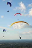 Paragliders in the sky above the South Downs Stock Photos