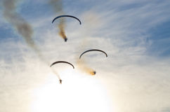 Paragliders on the sky - airshow. Paragliders on the sky during the airshow royalty free stock image