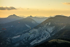 Paragliders at sunset in St Andre, France Stock Image