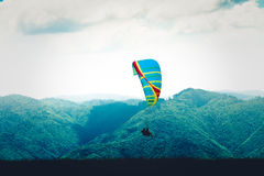 Paragliders in tandem flying in Romania Stock Image