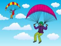 paragliderssky två Arkivbild