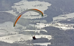 Winter paragliding one of active extreme sports Royalty Free Stock Photography