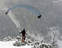 Paragliding. Paraglider on ski flying in alps with woods in background Royalty Free Stock Photography