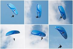 Paragliding. Collage of six pictures of paragliding Royalty Free Stock Photos