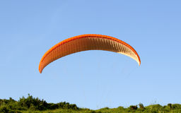 Paragliding. A view from a paraglide appearing behind the vegetation undera clear blue sky in background. Land-based paragliding practice during training days at Stock Photo