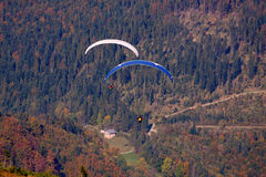 Paragliding. Paraglider over mountains in Poland royalty free stock photo