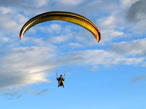 Paragliding. Paraglider final approach before landing Stock Image