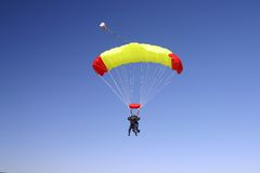 Paragliding. Duo in the air Royalty Free Stock Photo