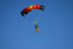 Paragliding. Pilot in the air Royalty Free Stock Photography