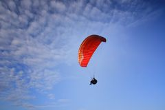 Paragliding. Flying in Cape Santa Pola Royalty Free Stock Images