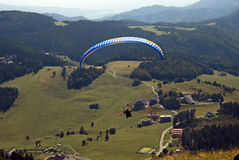 Paragliding. In slovakia with mountain view and clear sky Royalty Free Stock Image