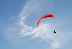 The paragliding. In the summer ski Royalty Free Stock Photos
