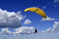 Paragliding. In a deep blue sky Royalty Free Stock Photography