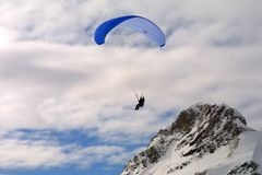 Paragliding. Paraglider in the mountains Stock Photos