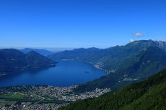 Paragliding above Lake Maggiore, Ascona and Locarno city in Ticino. Switzerland: Paragliding above Lake Maggiore, Ascona and Locarno city in canton Ticino stock photos