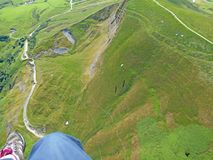Paragliding above Mam Tor stock photography
