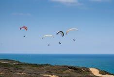 Paragliding above Mediterranean sea Stock Photo