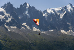 Paragliding above Mont Blanc massif Royalty Free Stock Photos