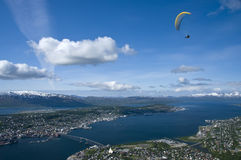 Paragliding above Tromso Stock Images