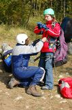 Paragliding accessories. Parachute paragliding prepare harness accessories stock photography