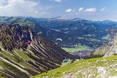 Paragliding in the Alps Royalty Free Stock Photography
