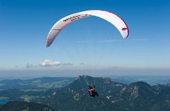 Paragliding in alps Stock Image