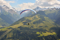 Paragliding in the alps Royalty Free Stock Image