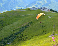 Paragliding in the alps Royalty Free Stock Images
