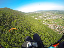 Paragliding in Alps Royalty Free Stock Images