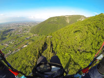 Paragliding in Alps Stock Photo