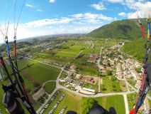 Paragliding in Alps Royalty Free Stock Photos