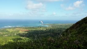 Paragliding. The Anahola mountains on the island of Kauai HI Royalty Free Stock Photos