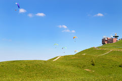 Paragliding And Weather Station Royalty Free Stock Photos