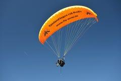 Paragliding as Tandem. A paragliding tandem seen at the Nebelhorn mountain at Oberstdorf, Allgaeu, South-Germany Stock Images