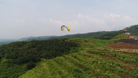 paragliding athletes while competing in the national championship stock photography