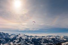 Paragliding at Austrian Alps. Above ski resort Zel Am See, Kaprun Royalty Free Stock Photography