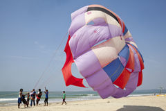 Paragliding beach landscape Stock Images